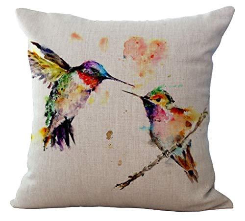 YUHANG 20 x 20 Inches Cotton Linen Bird Throw Pillow Decorative Cushion Cover Pillowcase Purple Blue Aqua Hummingbird Birds Red Tropical Throw Pillow Cover