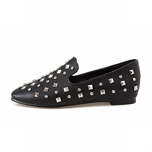 Carolbar Rhinestones Para Mujer Square Toe Casual Heel Spike Heel Spikes Zapatos Negro