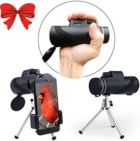 Monocular Telescope-10X42 HD-Duel Focus-Wide View-Waterproof-Best Monocular with BAK4 Lens, iPhone Zoom Lens – Phone Scope – Tripod, Strap-Case for Hunting-Hiking-Bird Watching-Sports