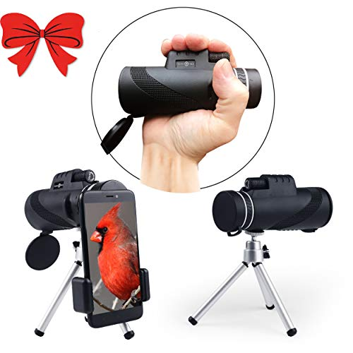 Monocular Telescope-10X42 HD-Duel Focus-Wide View-Waterproof-Best Monocular with BAK4 Lens, iPhone Zoom Lens - Phone Scope - Tripod, Strap-Case for Hunting-Hiking-Bird Watching-Sports ()