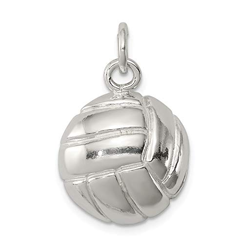 (925 Sterling Silver Volleyball Pendant Charm Necklace Sport Man Fine Jewelry Gift For Dad Mens For Him)