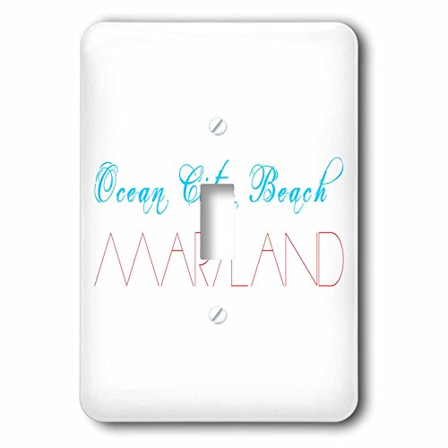 3dRose Alexis Design - American Beaches - American Beaches - Ocean City Beach, Maryland blue and red - Light Switch Covers - single toggle switch - Maryland Ocean Outlets City