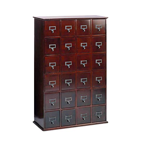 (Leslie Dame CD-456C Solid Oak Library Card File Media Cabinet, 24 Drawers, Cherry )