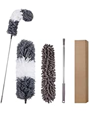Microfiber Duster,Oflywe 3Pcs Duster Cleaning Kit with 100 Inch Stainless Steel Extension Pole Lightweight Dusters for Cleaning Ceiling Fan, High Ceiling, Blinds, Furniture, Cars