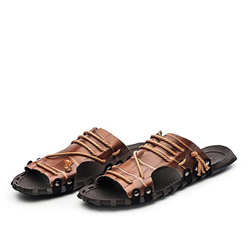 Summer Sandali di modello di estate Uomini Sandali di grande formato Sandali fissi Scarpe da mucca, antiscivolo, marrone, UK = 9, EU = 43 1/3