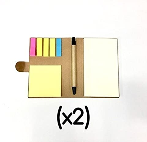E-Z Notes (x2) NOTEPAD & PEN SET - Index Flag Page Markers, Sticky Back, Blank Paper Pad & Study Notebook, Eco Friendly Flat Kraft Binding, Multi Use Small Pocket Travel Size - Back to School (Clear Post It Pockets)