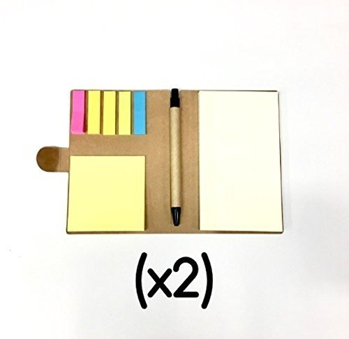 Recycled Cardboard Journal (E-Z Notes (x2) NOTEPAD & PEN SET - Index Flag Page Markers, Sticky Back, Blank Paper Pad & Study Notebook, Eco Friendly Flat Kraft Binding, Multi Use Small Pocket Travel Size - Back to School Supplies)