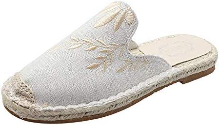 漁師の靴フィッシャーマンキャンバスレディースシューズレディースシューズ刺繍レイジーボードシューズ夏春と秋のメンズシューズペダルデオドラントカジュアル潮シューズ布靴通気性のリネン (Color : White, Size : 24.5cm)