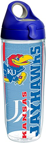 Tervis 1220737 Kansas Jayhawks College Pride Tumbler with Wrap and Blue with Gray Lid 24oz Water Bottle, Clear by Tervis (Image #2)