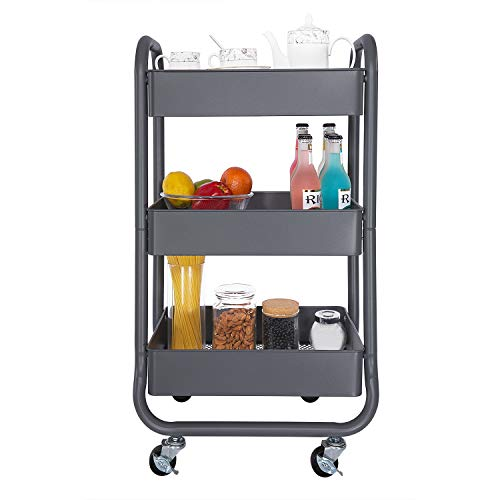 DESIGNA Metal Rolling Storage Cart 3 Tiers Utility Mobile Organization Cart with Handles Suitable for Office Home Kitchen or Outdoor, ()