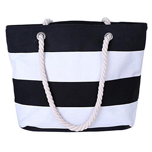 Beach Bag Waterproof Canvas Tote Large Tote Shoulder Water Resistance For Women with Top Zipper Closure Rope Handles Pocket Travel Cotton Handle School Work Daily Life (45cm31cm14cm, Black Strip)