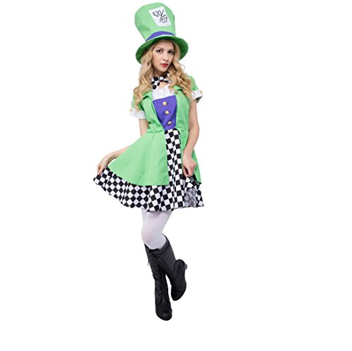 Ireland Costumes Themed (CLUB QUEEN Alice-Themed Costume -- Green Hatter Costume -- Women's XS/S)
