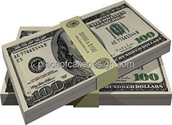 (1/4 Sheet ~ Casino Hundred Dollar Bills Birthday ~ Edible Cake/Cupcake)