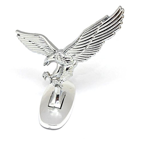 3D Car Front Cover Chrome Eagle Badge Car Cover for Auto Car Front Hood Ornament Emblems Silver-white (Eagles Race)