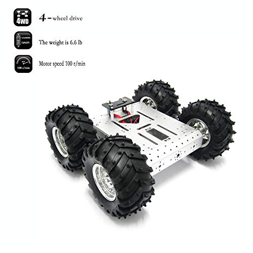 4WD Robot Chassis Kit Smart Off-Road Car Kit Robot Car Aluminum Alloy Chassis Mobile Robot Platform Withcoded Disc 4 DC Motor with Speed Encoder Wheels for Raspberry PI, Arduino Robot Projects
