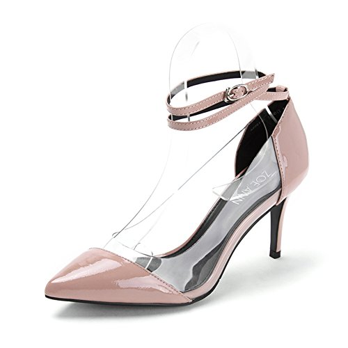 de aguja Zapatos brillante mosaico puntiagudos B Tacones transparente charol zapatos Primavera de X1UqwH1