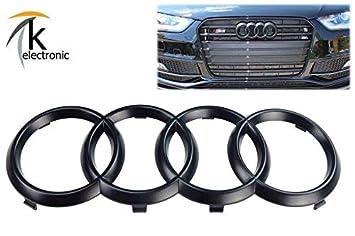k-electronic Audi A4 S4 RS4 8 K B8 Emblema Negro Mate/Audi Anillos Enfriador Parrilla Frontal Delantera: Amazon.es: Coche y moto