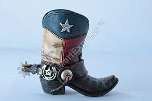 Mini Texas Flag Boot Toothpick Pen Holder Vase Tiny Cowboy Boot (Cowboy Boot Vase)