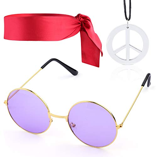 Beelittle Hippie Costume Set - 60's Style Circle Glasses Peace Sign Necklace Hippie Headband 60s Party Accessory Kit (C) -