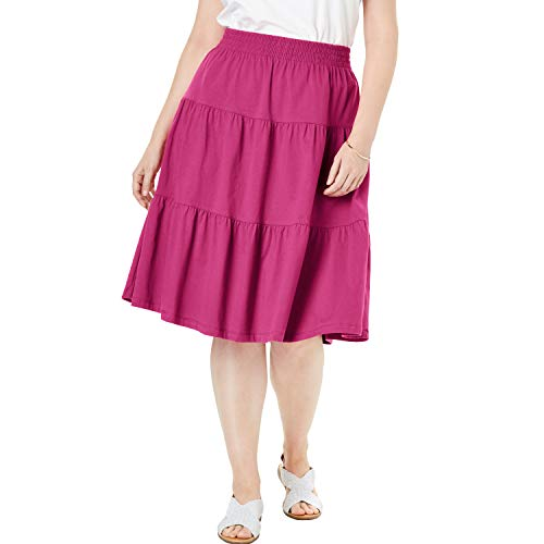 Woman Within Women's Plus Size Jersey Knit Tiered Skirt - Bright Berry, 18/20