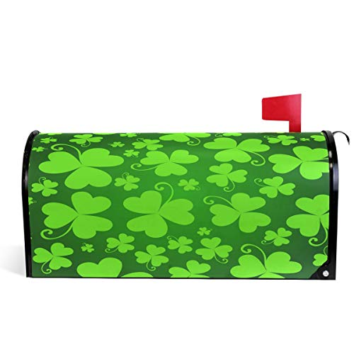 - Wamika Happy St Patrick's Day Shamrock Mailbox Cover Magnetic Oversized, Spring Elf Hat Green Letter Post Box Cover Wrap Decoration Welcome Home Garden Outdoor 25.5