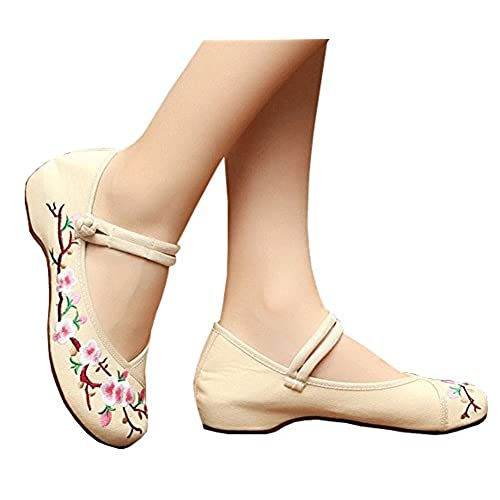 AvaCostume Embroidery Womens Classics Flats Rubber Sole Casual Shoes, Beige  40