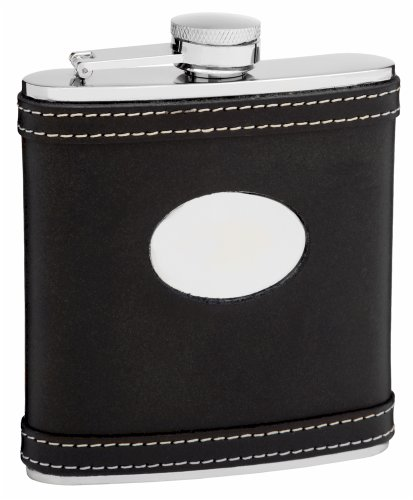 (6oz Black Leather Hip Flask with White Accent Stitching, Free Engraving)
