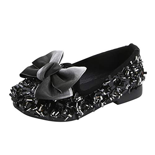 CCFAMILY Toddler Infant Kids Baby Girls Bow Crystal Bling Casual Princess Shoes Loafers Black