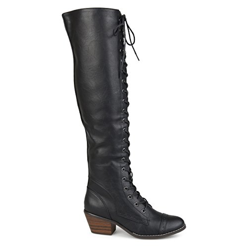 Brinley Co Womens Blitz Faux Leather Regular and Wide Calf Over-The-Knee Lace-up Brogue Boots Black yLbsj4hfUE