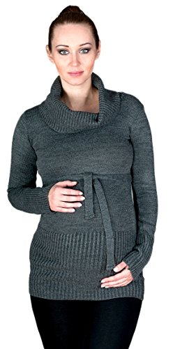 Zeta Ville - Premamá suéter túnica de punto pulóver cuello alto - mujer - 358c Grafito