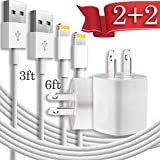 Cellphone Charging Kit - Pack of 3FT 6FT USB Data Sync Cable Charging Cord with Cube Wall AC Charger Brick Power Adapter Plug Compatible with iPhone Xr Xs X Max 8 7 6 5 SE Pad Pro Mini Air Pod - White