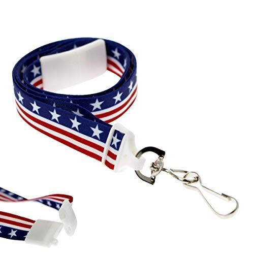 (2 Pack - American Flag Lanyard for ID Badges & Keys - Patriotic USA Lanyards for Fourth of July Supplies - Red White & Blue Stars & Stripes - Soft Fabric Safety Breakaway Clasp by Specialist ID)