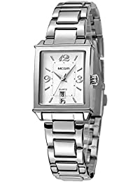 Womens Rectangle Watch,Lady Stainless Steel Watch,Women Date Quartz Watch,Luxury Analog