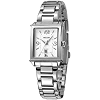 Womens Rectangle Watch,Lady Stainless Steel Watch,Women Date Quartz Watch,Luxury Analog Watch for Women,Lady Women Girls Bracelet Dress Watch,Square Lady Wrist Watch,Silver-Toned (Silver)