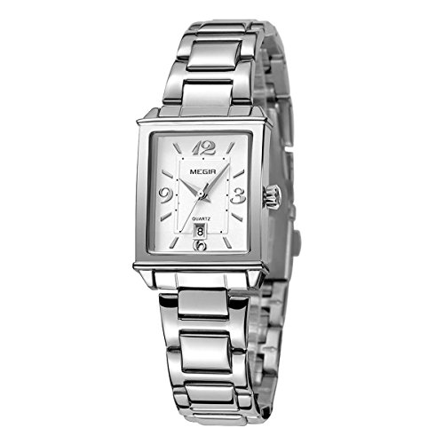 Womens Rectangle Watch,Lady Stainless Steel Watch,Women Date Quartz Watch,Luxury Analog Watch for Women,Lady Women Girls Bracelet Dress Watch,Square Lady Wrist Watch,Silver-Toned ()