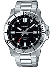 Casio Men's Black Dial Stainless Steel Analog Watch - MTP-VD01D-1EVUDF