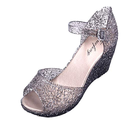 LOVOZO Womens Summer Sandals Crystal Plastic Wedges Hollow Hole Pattern Sandals Black