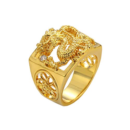 (loyoe jewelry 24k Yellow Gold Filled Mens Ring Carved Dragon Play with Ball Pattern Inlay Cubic Zircon Size 10)