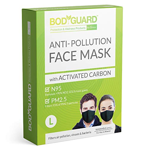 BodyGuard N95 + PM2.5 Anti Pollution Face Mask with 5 Layers Protection Activated Carbon, Nose Clip for Better Fit…