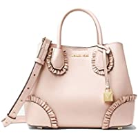 Michael Kors Mercer Gallery Small Ruffled Leather Satchel (Soft Pink)