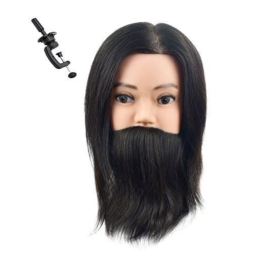 WanSi 100% Human Hair Male Mannequin Head for Barber Using Hair and Beard with A Free Clamp