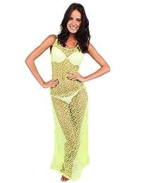 Ingear Crochet Mesh Racer Back Maxi Dress Cover Up