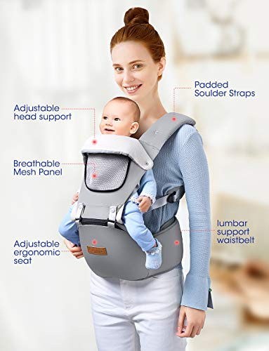 OMORC Baby Carrier, 9-in-1 Convertible Infant carrier, Support 45 lbs,Baby Holder Hip Seat Carrier Waist Stool, Pure Cotton & Breathable Mesh & Adjustable Front Back Soft Child Carrier
