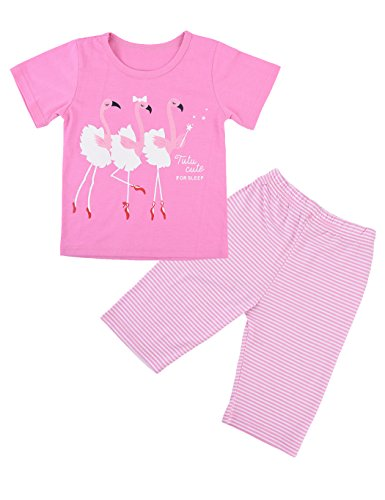 Little Girls Flamingos Pajama, Pink Cute 2 Piece Short Pajamas Set for Girl's - Pink Pajamas Childrens