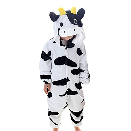 Amurleopard Kids Animal Pajamas One-Piece Cosplay Sleepwear Onesies Pajamas Nightwear Cow XL (Cow Costume For Kids)