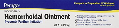 Hemorrhoidal Pain Relief Ointment Generic For Preparation H 2 oz (57g) Per Tube Pack of 3 Tubes Total 6 oz by PERRIGO PHARMACEUTICALS Company
