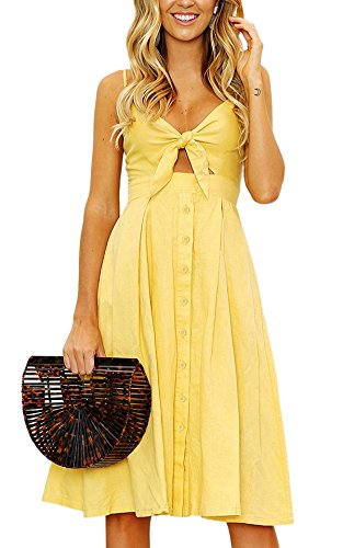 Yidarton Womens Dresses-Summer Spaghetti Strap Tie Front Button Down Sexy Backless Midi Dress (Small, Yellow)
