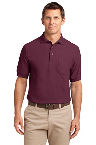 Port Authority Men's Silk Touch Polo with Pocket XL Burgundy
