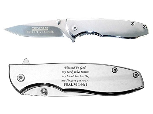 Bible Psalm 144:1 Engraved Chrome Mirror Finish TAC-Force...