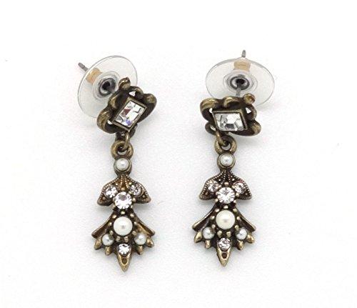 Sweet Romance Geometric Petal Crystal Simulated Pearl Bronze 1 3/8 Dangle Earrings